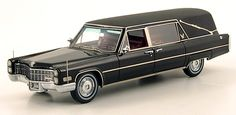 PhillyMint Diecast - American Excellence 1966 Cadillac S Landau Hearse w/ Closed Coffin Black 1:43rd Scale Resin Static