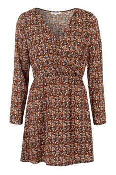 Womens Printed Wrap Front Dress by Glamorous