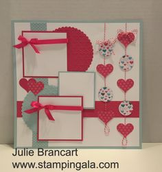Valentine's Day was the theme for this month's Scrapbook Club. Melon Mambo and Soft Sky were my color choices paired with Designer Series P...