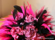 Sassy Fuschia Pink and Black Bridal Bouquet by SurroundingsOnline, $158.00