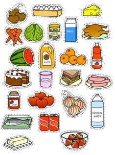Food Stickers, Journal Stickers, Diy Stickers, Printable Stickers, Planner Stickers, Toddler Learning Activities, Preschool Activities, Food Groups Chart, Emotions Game