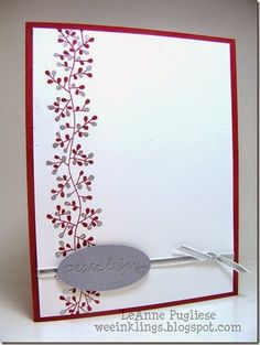 Paper Players 218  Stamp leaf/berry in cherry cobbler. Color some silver with silver Zig Painty Pen.