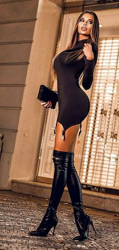 Tight Dresses, Sexy Dresses, Pernas Sexy, Thigh High Boots Heels, Sexy Latex, Stunning Women, Pretty Lingerie, Sexy Curves, Tumblr Outfits
