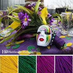 'Mardi Gras' color palette featuring Shetland yarn in Marigold, Spruce, Majenta, and Plum.
