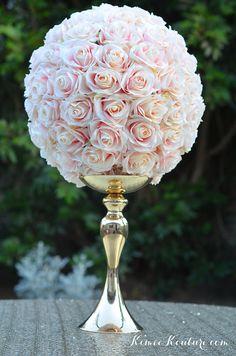 PINK BLUSH Flower Ball.  Pink Blush Kissing Ball. Blush Pink Blush Wedding Centerpieces, Pink Centerpieces, Shower Centerpieces, Wedding Decorations, Cream Roses, Silk Roses, Bling Wedding, Wedding Events, Wedding Flowers