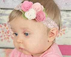 Pink felt flower headband by muffintopsandtutus on Etsy