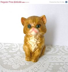 Vintage Cat Figurine Ceramic Kitten Enesco by AtticDustAntiques, $8.00
