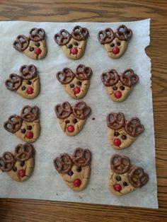 These were fun to make, delicious to eat and adorable on the christmas cookie platter.  Peanut butter cookies, chocolate covered mini pretzels, mini brown m&M's, regular size red m&M's