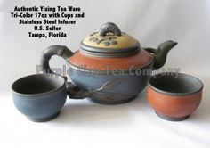"Authentic Yixing Teaware Made in: Yixing, China  Tri Color Set With Stainless Steel Infuser 17.5oz Dimensions: L: 7 3/4"" x H: 4"""