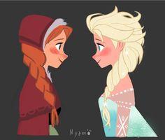 Frozen - Queen Elsa x Princess Anna - Elsanna Frozen Queen, Frozen Elsa And Anna, Ice Queen, Queen Elsa, Walt Disney, Disney Frozen, Disney Art, Disney Animated Movies, Disney Films