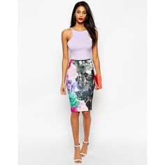 Pencil skirt by ASOS Collection Grid textured jersey Smooth feel Stretch, high waist Floral print throughout Slim fit. cut closely to the body Machine wash 95%…