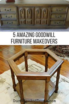 5 amazing (but easy) Goodwill furniture makeovers. Don't be afraid to try painting old furniture! Goodwill Furniture, Diy Furniture Decor, Refurbished Furniture, Ikea Furniture, Repurposed Furniture, Furniture Projects, Rustic Furniture, Cool Furniture, Modern Furniture