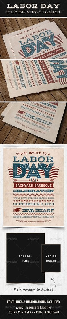 Labor Day Flyer  Postcard  #GraphicRiver         Showcase this typographic flyer  postcard invitation for your Labor Day party, BBQ