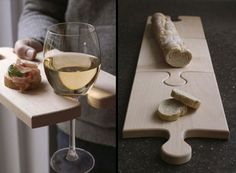 43 DIY Interesting And Useful Ideas For Your Home. I especially love the puzzle bread board /party tray with wine holder idea! @Luke Eshleman Eshleman Whittall