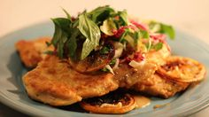 Chicken Fran�aise with Tarragon Tricolor Salad Recipe