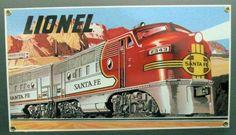Lionel Santa Fe Railroad Porcelain Sign | A Simpler Time