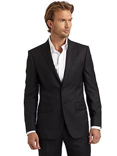 BLACK Saks Fifth Avenue Micro-Chevron Two-Button Suit