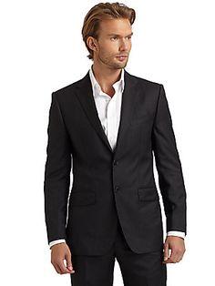 BLACK Saks Fifth Avenue Micro-Chevron Two-Button Suit