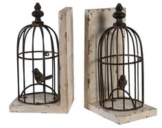 Charming Bird Cage Book Ends