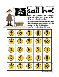 Use these colorful, friendly, one page game board to help your students master their basic math skills. Math Addition Games, Math Games, Basic Math, Math Skills, Pirates, Board Games, Evans, Sailing, Students