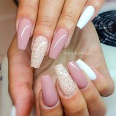Light Pink & White Squoval Acrylic Nails w/ Glitter