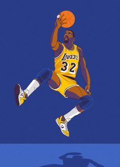 Artist Ryan Simpson from Charlotte, North Carolina captures Lakers legend Magic Johnson doing his thing.