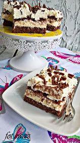 Ewa w kuchni: Ciasto budyniowo - śmietanowo - czekoladowe Polish Desserts, Polish Recipes, Cookie Desserts, Sweet Desserts, Sweet Recipes, Delicious Desserts, Yummy Food, Baking Recipes, Cake Recipes