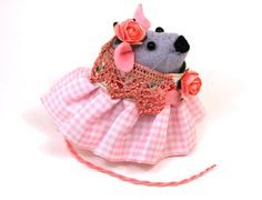SALE - Hippy Mouse ornament felt rat hamster mice cute gift for animal lover or collector - Flower the Hippie Mouse - ready to ship. £19.00, via Etsy.