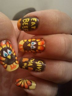 Cute thanksgiving nails! This looks amazing but is probably hard to do.