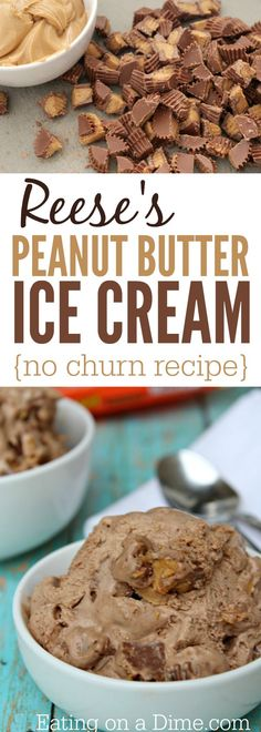 Reese's Peanut Butter Ice cream recipe – This reese's ice cream is delicious and easy to make because it is a no churn ice cream recipe. Homemade Desserts, Köstliche Desserts, Frozen Desserts, Delicious Desserts, Dessert Recipes, Summer Desserts, Frozen Treats, Summer Recipes, Keto Recipes