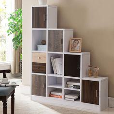 High Quality Furniture Of America Arla White Multi Storage Staircase Bookcase/Display  Shelf