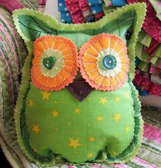 SALE Halloween Owl Orange Green Bean Bag by handpaintedloveboxes, $15.00