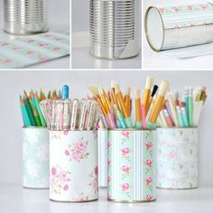 Des boîtes de conserve relookées avec du papier fleuri / DIY, Cans relooked with…