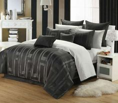 Tribeca Geometric 12-Pc Bed in a Bag by Luxury Bedding Co. - Bed in a Bag - Polyester