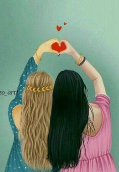 Bff art from art best friend drawings, bff draw Best Friend Drawings, Girly Drawings, Bff Pictures, Best Friend Pictures, Girl Cartoon, Cartoon Art, Sarra Art, Girly M, Cute Girl Drawing
