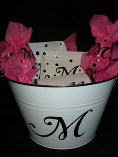 Super cute idea for favors, snacks, etc. Monogram made from vinyl with the Cricut. bridesmaid gift
