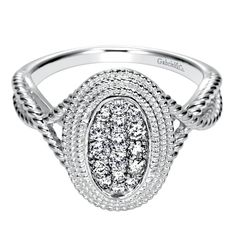 Gabriel & Co. 14K White Gold .30 Ctw Diamond Oval Ring #diamonds #ring