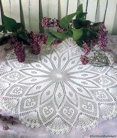 "Crochet Knitting Handicraft: ""DAISY"" - KNITTED OPENWORK CROCHET DOILY"