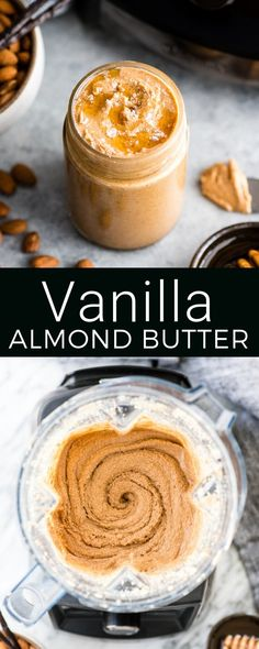 Homemade Vanilla Almond Butter with Sea Salt & Honey is so easy & delicious you will never settle for store-bought varieties again! Made with only 5 ingredients in 5 minutes in the Vitamix Blender! Honey Recipes, Jam Recipes, Dairy Free Recipes, Real Food Recipes, Snack Recipes, Dessert Recipes, Jelly Recipes, Smoothie Recipes, Homemade Almond Butter