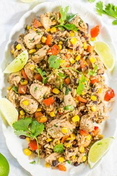 Lime+Cilantro+Chicken+with+Mixed+Rice+and+Black+Beans+-+Easy,+one+skillet,+15-minute+meal!+Tons+of+textures+and+bold+flavors+in+every+bite!!+The+lime+makes+this+dish+just+POP!!
