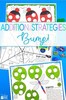 Addition games provide hands-on practice for learning addition strategies. After you've introduced each addition strategy engage your first grade students with a fun bump game that will help improve their fact fluency. Perfect for homeschoolers too! #mathgames #additionstrategies #additiongames #factfluency