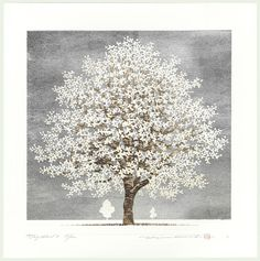 Dogwood 2011 by Hajime Namiki - ) Japanese Art Modern, Japanese Prints, Engraving Illustration, Art Japonais, Woodblock Print, Tree Art, Asian Art, Art Decor, Fantasy Art