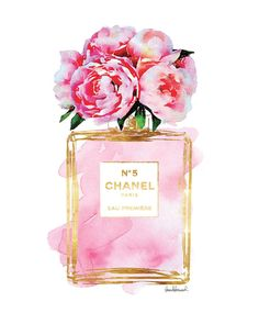 Chanel No5 art 8x10 Pink Peony watercolor Gold by hellomrmoon