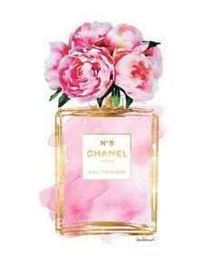 Chanel No5 art 8x10 Pink Peony watercolor Gold by hellomrmoon