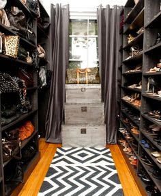 Wow! What a cool closet!  Madeline Weinrib Black & White Lupe Cotton Runner in a chic closet
