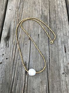White Pearl Brass Necklace