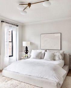 modern bedroom, minimalist bedroom, bedroom decor, home decor Serene Bedroom, Cozy Bedroom, Bedroom Colors, Home Decor Bedroom, Bedroom Neutral, All White Bedroom, Bedroom Inspo, Bedroom Wardrobe, Bedroom Curtains