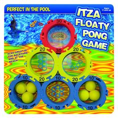 Water Sports Itza Floaty Pong Backyard and Pool Game #WaterSports Itza Floaty Pong, The Classic Pong Toss Game Designed For In The Pool, 12 Rings With Point Values Interlock To Offer Several Target And Game Configurations, Includes 12 Rings & 6 Foam Balls.