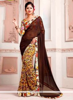 Bring out the true diva in you and reinvent your true self. Make the heads turn when you costume up in this gorgeous brown weight less printed saree. Beautified with print work all synchronized very w...