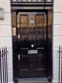 Pewter patina door furniture shown on an oak front door. Ring door ...